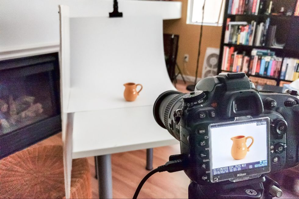 Sample setup for DIY product photography.